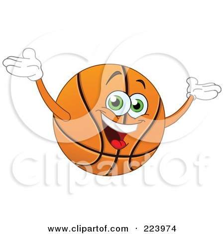 Royalty-Free (RF) Clipart Illustration of a Friendly Basketball Character Holding His Arms Up by yayayoyo