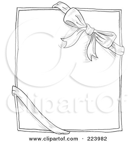 Royalty-Free (RF) Clipart Illustration of a Doodle Sketch Of A Bow And Ribbon Around A Box Or Paper by yayayoyo