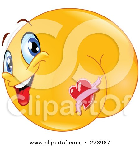 Royalty-Free (RF) Clipart Illustration of a Yellow Emoticon With A Heart Tattoo On His Butt by yayayoyo