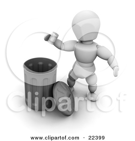 Clipart Illustration of a White Character Tossing A Metal Can Into A Chrome Trash Bin by KJ Pargeter