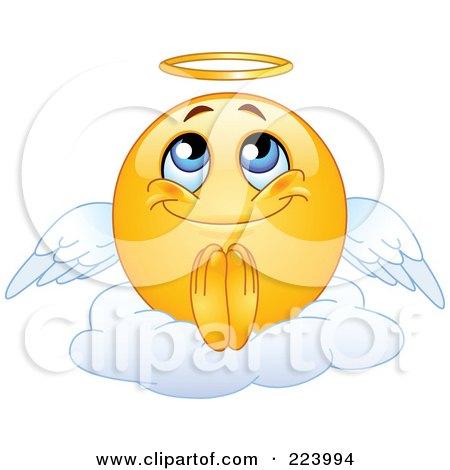 Royalty-Free (RF) Clipart Illustration of a Yellow Emoticon Angel Sitting On A Cloud by yayayoyo