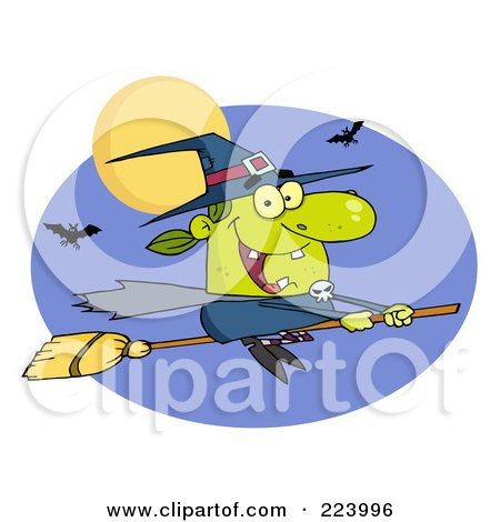 Royalty-Free (RF) Clipart Illustration of a Happy Halloween Witch Flying Fast On Her Broomstick by Hit Toon