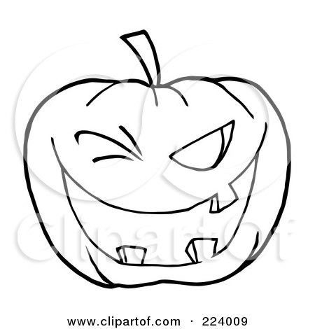 Coloring Page Outline Of A Toothy Halloween Pumpkin Winking ...