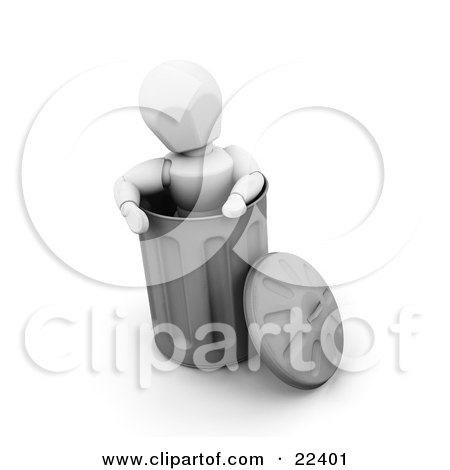 Clipart Illustration of a White Character Standing Up Inside A Metal Trash Can, Trying To Compact The Contents by KJ Pargeter