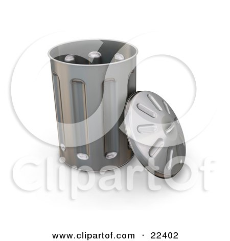 Clipart Illustration of a Tall Metal Garbage Can With The Led Leaning Against The Side by KJ Pargeter