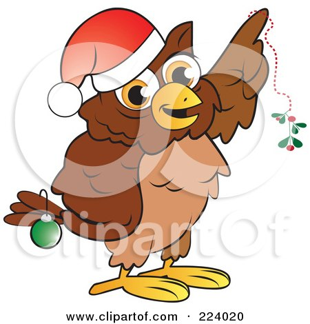 Royalty-Free (RF) Clipart Illustration of a Brown Owl Wearing A Santa Hat And Christmas Bauble, Holding Mistletoe by Vitmary Rodriguez