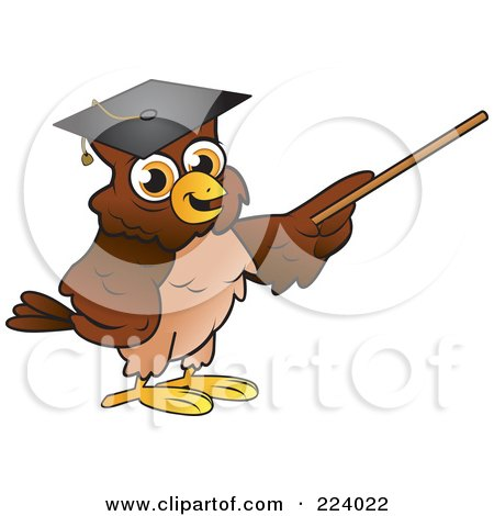 Royalty-Free (RF) Clipart Illustration of a Brown Owl Wearing A Graduation Cap And Using A Pointer Wand by Vitmary Rodriguez