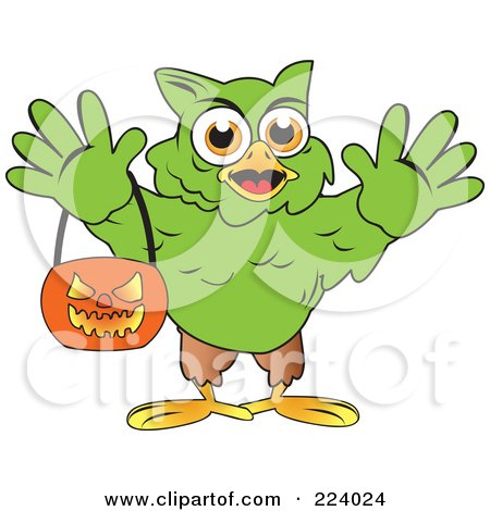 Royalty-Free (RF) Clipart Illustration of a Green Halloween Hulk Owl Holding A Pumpkin Basket by Vitmary Rodriguez