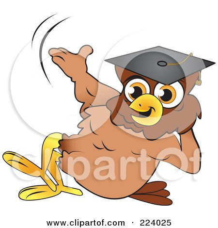 Royalty-Free (RF) Clipart Illustration of a Brown Owl Wearing A Graduation Cap And Reclined by Vitmary Rodriguez