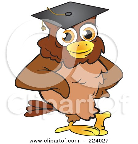 Royalty-Free (RF) Clipart Illustration of a Brown Owl Wearing A Graduation Cap And Leaning by Vitmary Rodriguez