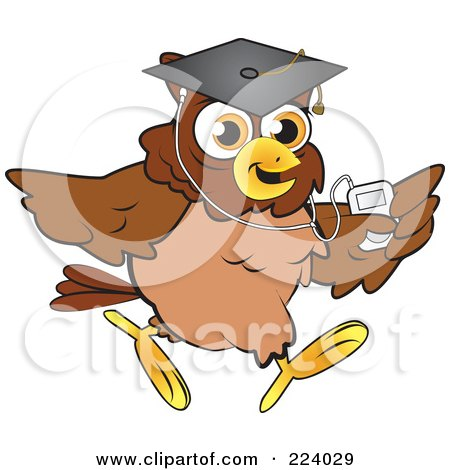 Royalty-Free (RF) Clipart Illustration of a Brown Owl Wearing A Graduation Cap And Listening To An Mp3 Player by Vitmary Rodriguez