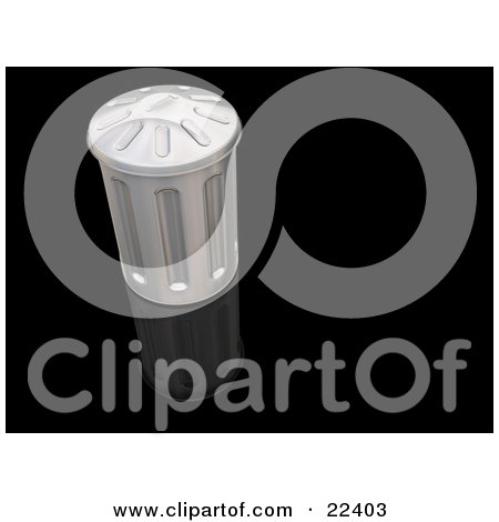 Clipart Illustration of a Metal Garbage Can With The Lid On, Resting On Top Of A Reflective Black Surface by KJ Pargeter