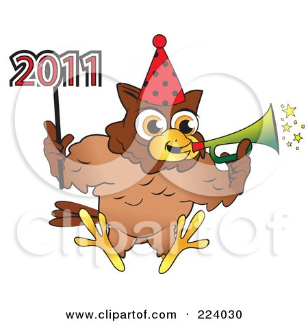 Royalty-Free (RF) Clipart Illustration of a Brown Owl Wearing A Party Hat, Blowing A Horn And Holding A 2011 New Year Stick by Vitmary Rodriguez