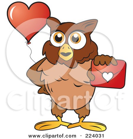 Royalty-Free (RF) Clipart Illustration of a Brown Owl Holding Out A Valentine Envelope And A Heart Balloon by Vitmary Rodriguez