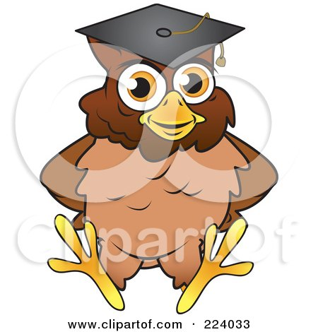 Royalty-Free (RF) Clipart Illustration of a Brown Owl Wearing A Graduation Cap And Sitting by Vitmary Rodriguez