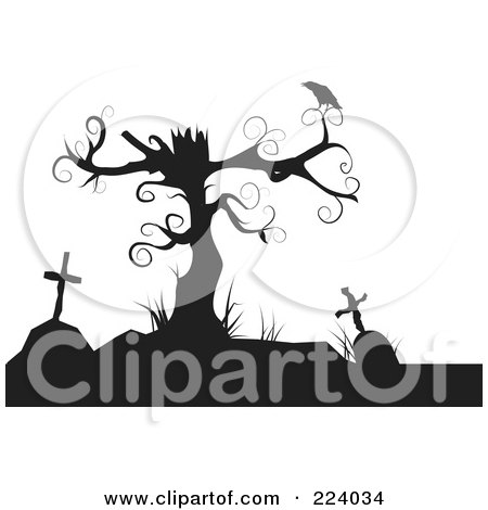 Royalty-Free (RF) Clipart Illustration of a Silhouette Of A Crow Perched On A Dead Tree Over Tombstones by Vitmary Rodriguez