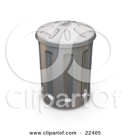 Clipart Illustration of a Tall Metal Trash Can With A Lid On Top by KJ Pargeter