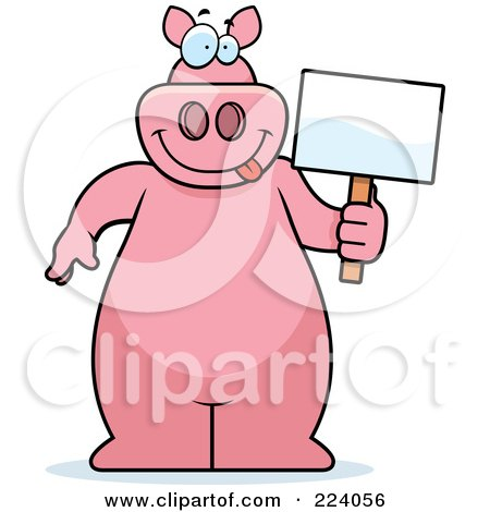 Royalty-Free (RF) Clipart Illustration of a Big Pink Pig Holding A Small Blank Sign by Cory Thoman
