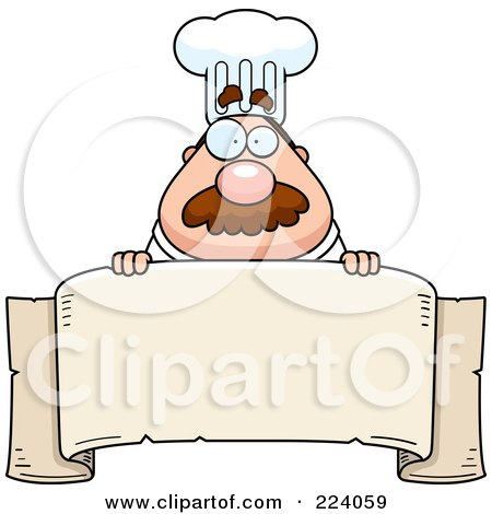 Royalty-Free (RF) Clipart Illustration of a Chubby Chef Over A Blank Banner by Cory Thoman