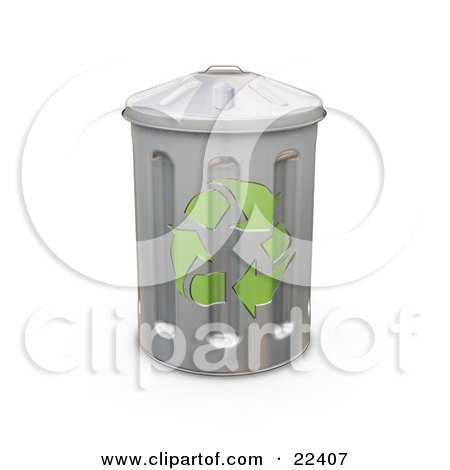 Clipart Illustration of a Tall Metal Recycle Trash Can With Green Arrows On The Side by KJ Pargeter