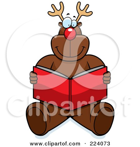 Royalty-Free (RF) Clipart Illustration of Rudolph Sitting And Reading A Red Book by Cory Thoman