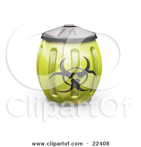Clipart Illustration of a Yellow Metal Biohazard Bin With A Symbol On The Side, Bulging Because Its Full by KJ Pargeter