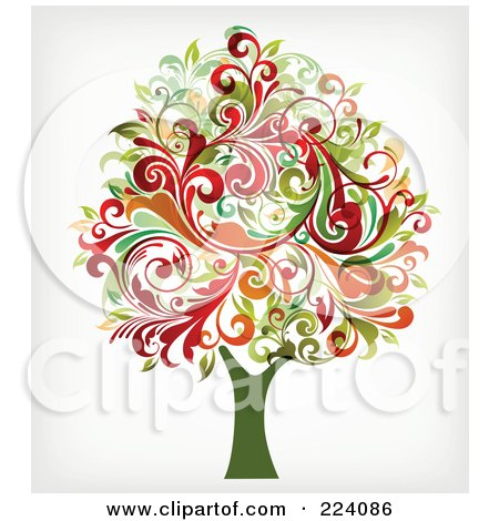 Royalty-Free (RF) Clipart Illustration of a Tree With Flourish Foliage by OnFocusMedia