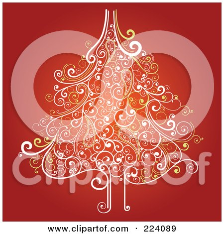 Royalty-Free (RF) Clipart Illustration of an Ornate Christmas Tree Of Swirls On Red by OnFocusMedia