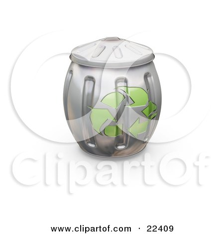 Clipart Illustration of a Full And Bulging Metal Recycle Can With Green Arrows On The Side by KJ Pargeter