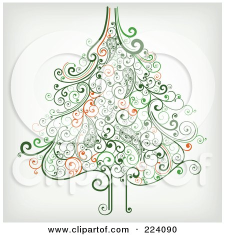 Royalty-Free (RF) Clipart Illustration of an Ornate Green Christmas Tree Of Swirls by OnFocusMedia