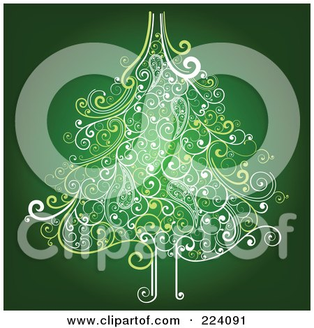 Royalty-Free (RF) Clipart Illustration of an Ornate Christmas Tree Of Swirls On Green by OnFocusMedia