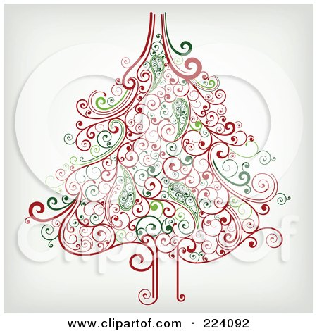 Royalty-Free (RF) Clipart Illustration of an Ornate Red And Green Christmas Tree Of Swirls by OnFocusMedia