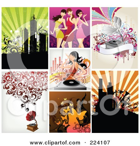 Royalty-Free (RF) Clipart Illustration of a Digital Collage Of Background Designs - 8 by OnFocusMedia