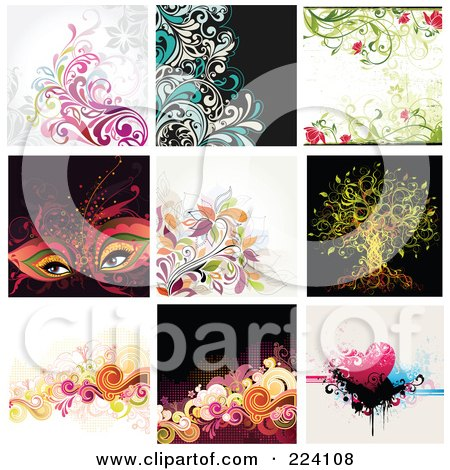 Royalty-Free (RF) Clipart Illustration of a Digital Collage Of Background Designs - 3 by OnFocusMedia