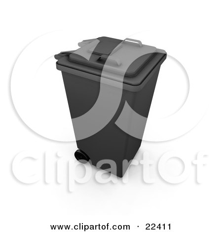 Clipart Illustration of a Closed Black Trash Can With Wheels by KJ Pargeter