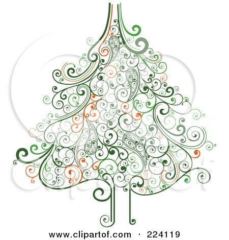 Royalty-Free (RF) Clipart Illustration of an Ornate Green Swirl Christmas Tree by OnFocusMedia