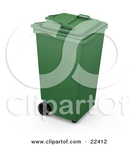 Clipart Illustration of a Closed Green Recycle Bin With Wheels by KJ Pargeter