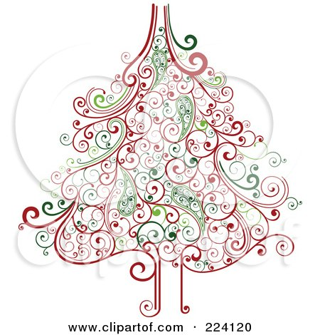Royalty-Free (RF) Clipart Illustration of an Ornate Red And Green Swirl Christmas Tree by OnFocusMedia