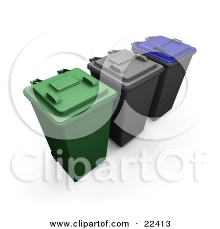 Clipart Illustration of a Row Of Closed Green, Black And Blue Recycle And Trash Cans With Wheels by KJ Pargeter
