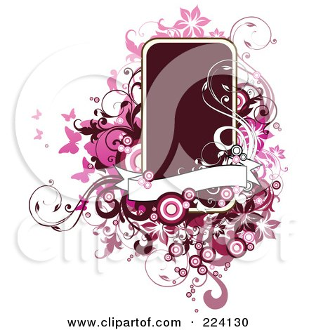 Royalty-Free (RF) Clipart Illustration of a Dark Text Box With Grungy Pink Swirls, Butterflies And Circles by OnFocusMedia