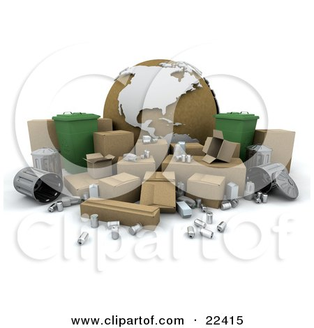 Clipart Illustration of a Cardboard Globe Surrounded By Green Recycle Binsm Cardboard Boxes, Tin Cans And Metal Trash Bins by KJ Pargeter