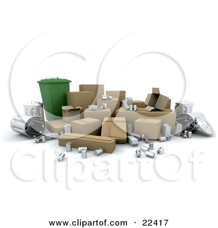 Clipart Illustration of a Green Recycle Bin Surrounded By Cardboard Boxes, Tin Cans And Metal Trash Bins by KJ Pargeter