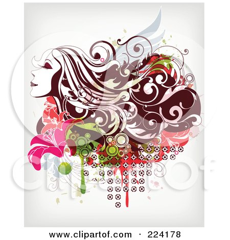 Royalty-Free (RF) Clipart Illustration of a Beautiful Long Haired Woman Over Floral Grunge - 1 by OnFocusMedia