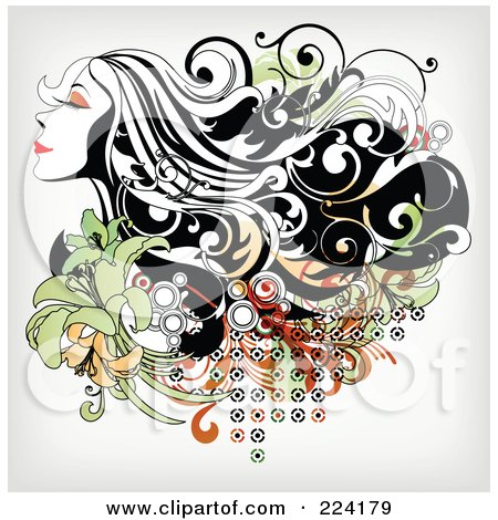 Royalty-Free (RF) Clipart Illustration of a Beautiful Long Haired Woman Over Floral Grunge - 2 by OnFocusMedia