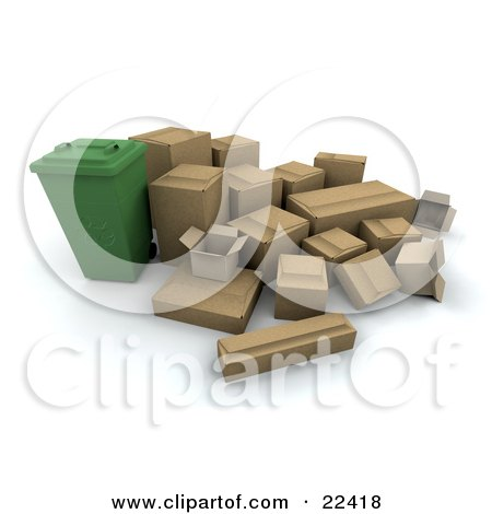 Clipart Illustration of a Green Recycling Bin Surrounded By Cardboard Boxes by KJ Pargeter