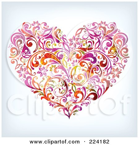 Royalty-Free (RF) Clipart Illustration of a Flourish Heart by OnFocusMedia