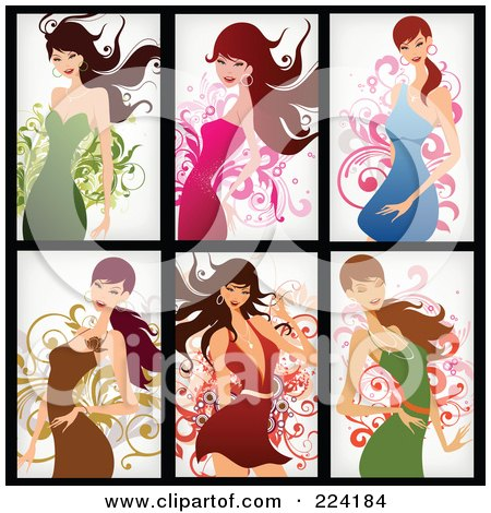 Royalty-Free (RF) Clipart Illustration of a Digital Collage Of Six Beautiful Women Dancing In Dresses by OnFocusMedia