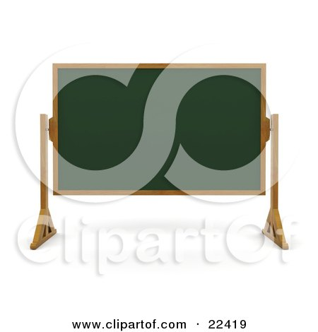 Clipart Illustration of a Green Chalk Board With A Wooden Frame, Wiped Clean And Standing In A Classroom by KJ Pargeter