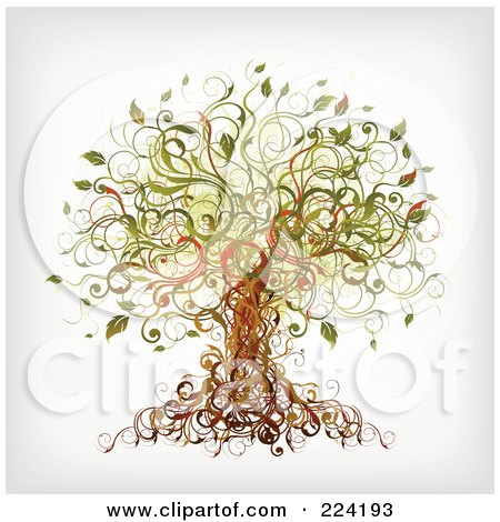 Royalty-Free (RF) Clipart Illustration of a Vine Tree by OnFocusMedia