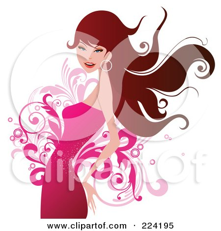 Royalty-Free (RF) Clipart Illustration of a Beautiful Woman In A Pink Dress Over Flourishes by OnFocusMedia